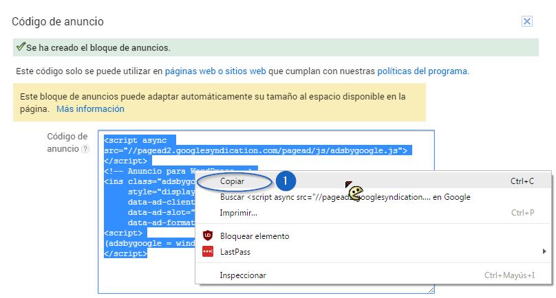 Copiar código AdSense