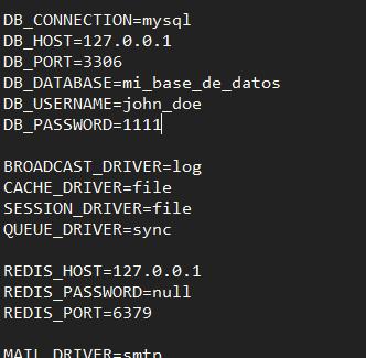 Ejemplo de configuración base de datos Laravel