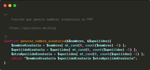 Nombres aleatorios con PHP