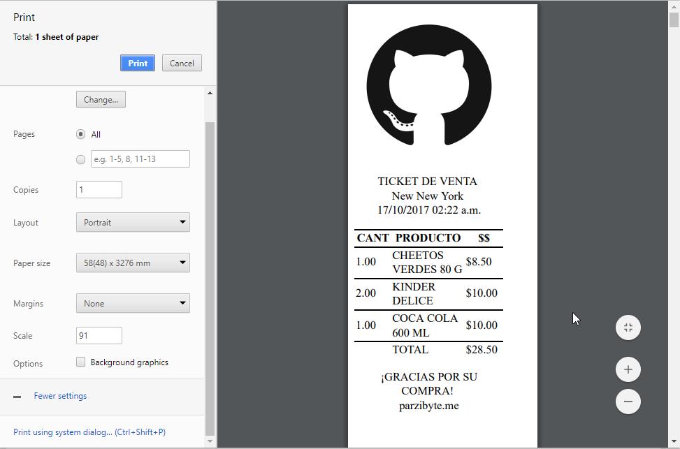 Vista previa al Imprimir ticket en impresora térmica usando Javascript