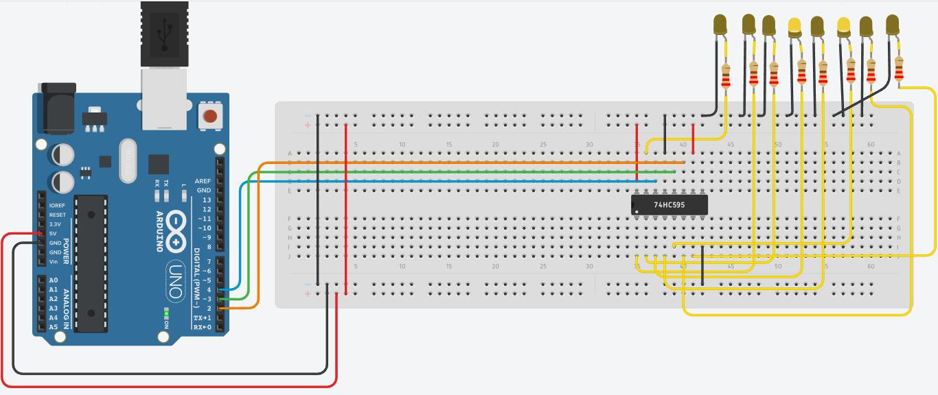Arduino y CI 74hc595