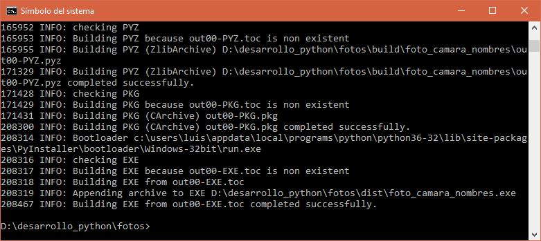 Archivo ejecutable (.exe) generado con éxito