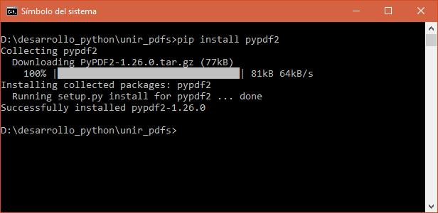 Descargar e instalar PyPDF2 para unir PDF's