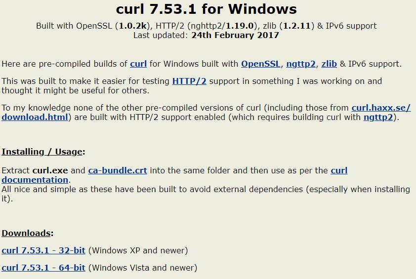 Página para descargar cURL en Windows