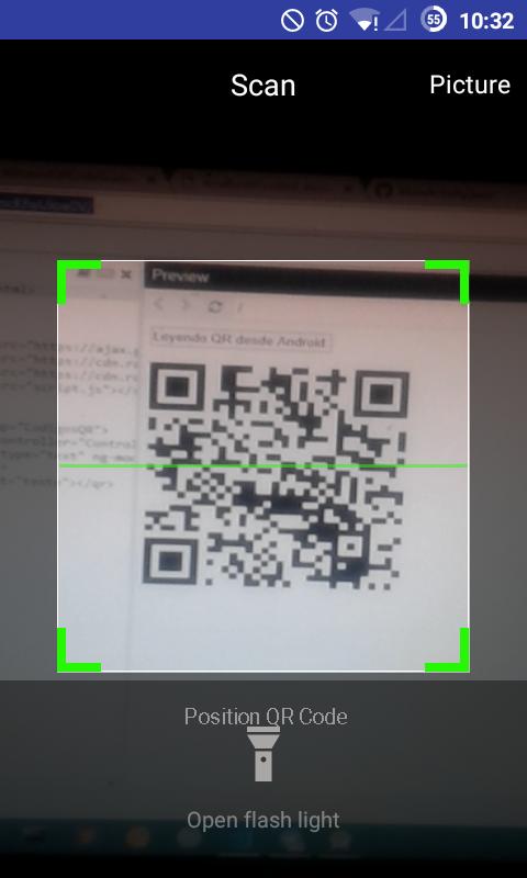 Escaneando código QR desde Android
