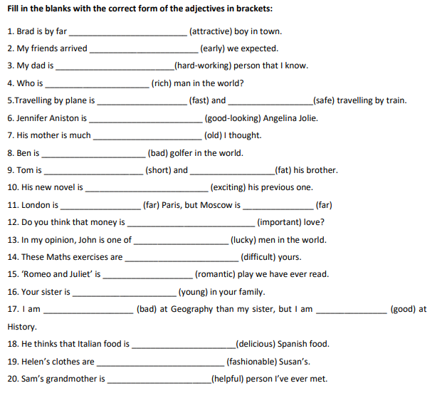 Ejercicio superlativos y comparativos | inglés