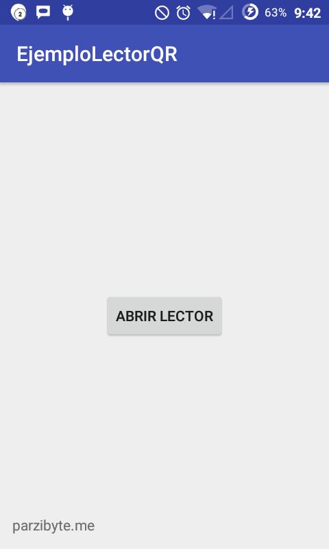 Ventana principal de aplicación para leer códigos QR en Android