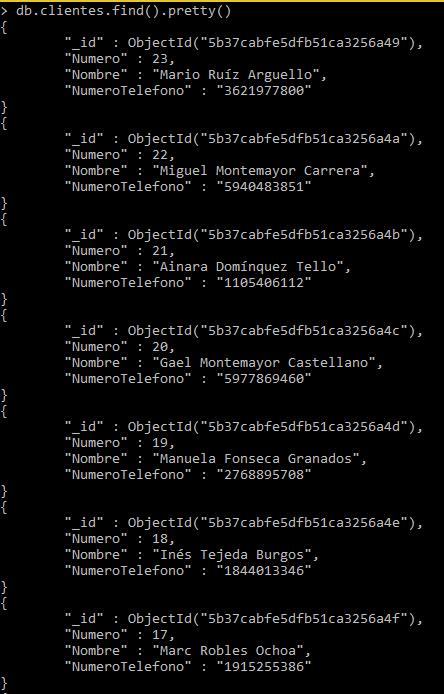 Colección de clientes en MongoDB