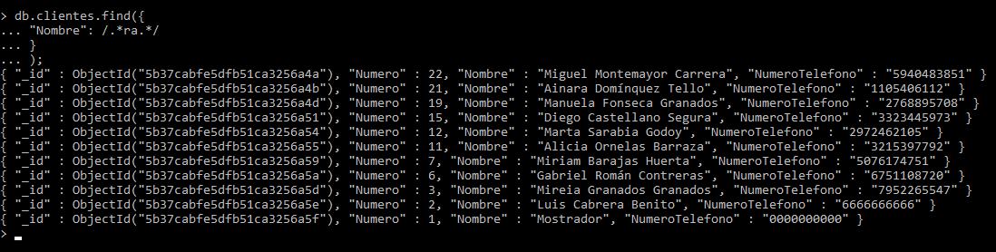 Resultados de consulta LIKE en MongoDB