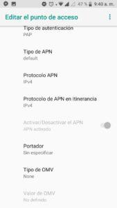 Paso 3 de configuración APN