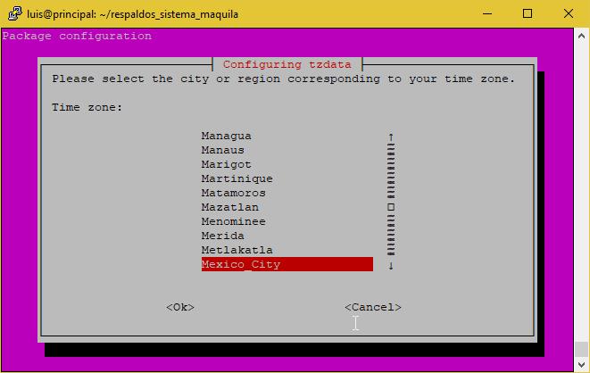 Seleccionar ciudad correspondiente a nuestro timezone