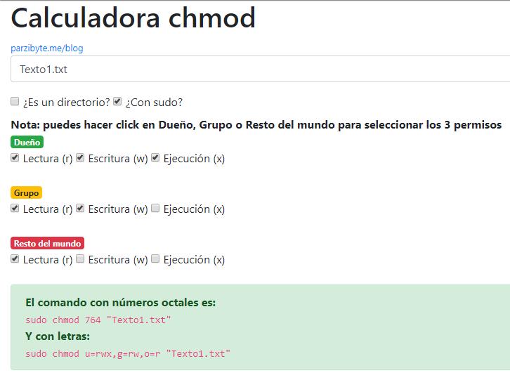 Ejemplo de cómo funciona la calculadora chmod