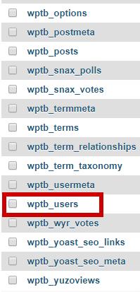 Tabla de base de datos para aprender cómo reiniciar contraseña de WordPress