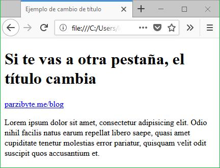Cambiar título de página cuando el usuario cambia de pestaña - Mientras se está en la pestaña