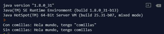 Ejecución del programa para remover comillas de cadena en Java