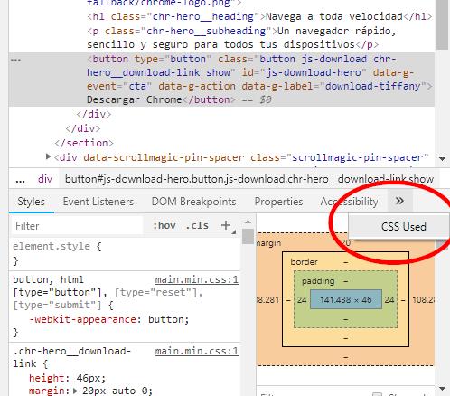 Seleccionar CSS Used para extraer css de una página web