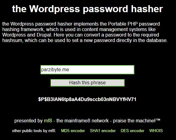 Generación de un nuevo hash con the wordpress password hasher