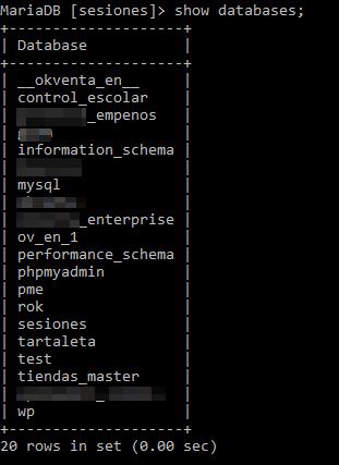 Mostrar bases de datos existentes