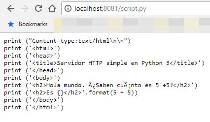 Código fuente mostrado en lugar de ser ejecutado