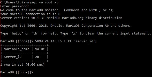 Comprobar server-id