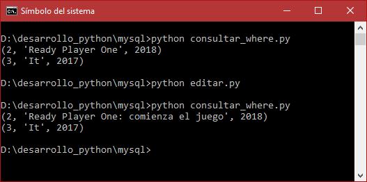 Edición o actualización de datos en MySQL con Python 3