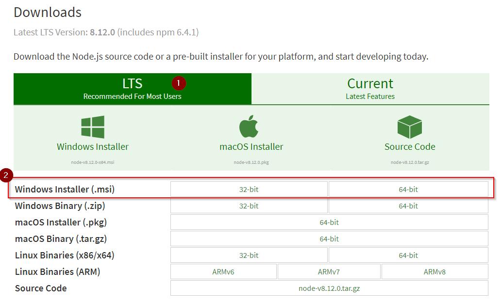Elegir versión LTS para descargar Node.JS y NPM en Windows 10