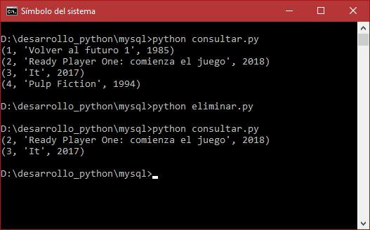 Eliminación de filas, datos o registros de MySQL con Python 3