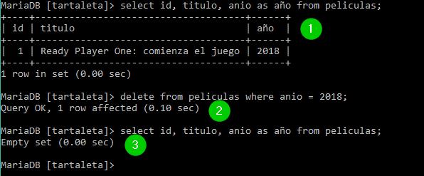 Eliminación de datos en MySQL