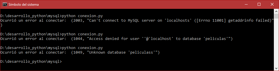 Errores que podemos encontrar al conectar Python 3 con MySQL