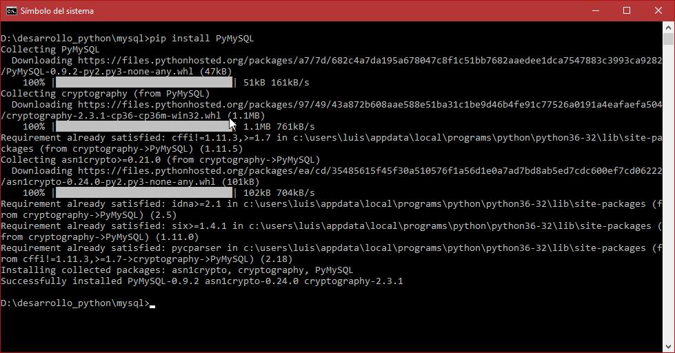 Instalación de PyMySQL con pip