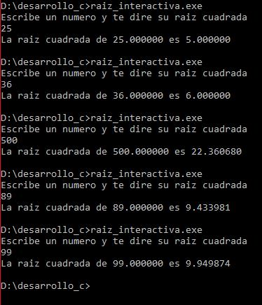 Raíz cuadrada interactiva en C