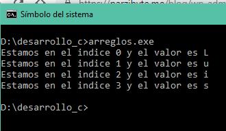 Recorrer array de una dimensión en C
