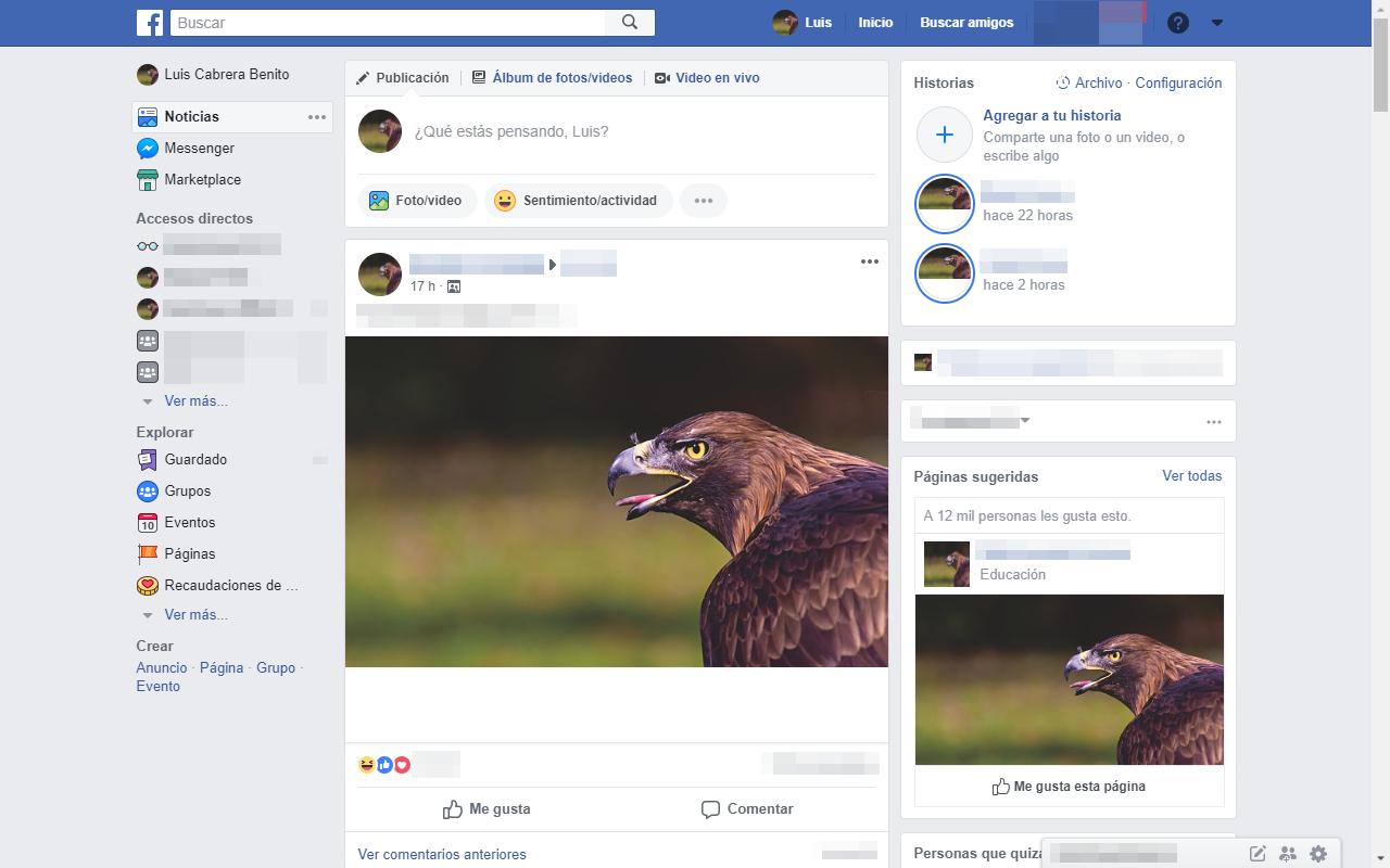 Página de Facebook con imágenes modificadas