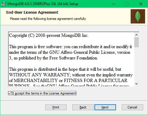 2 - Aceptar términos de MongoDB