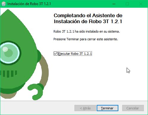 6 - Terminar instalación de Robo 3T en Windows 10