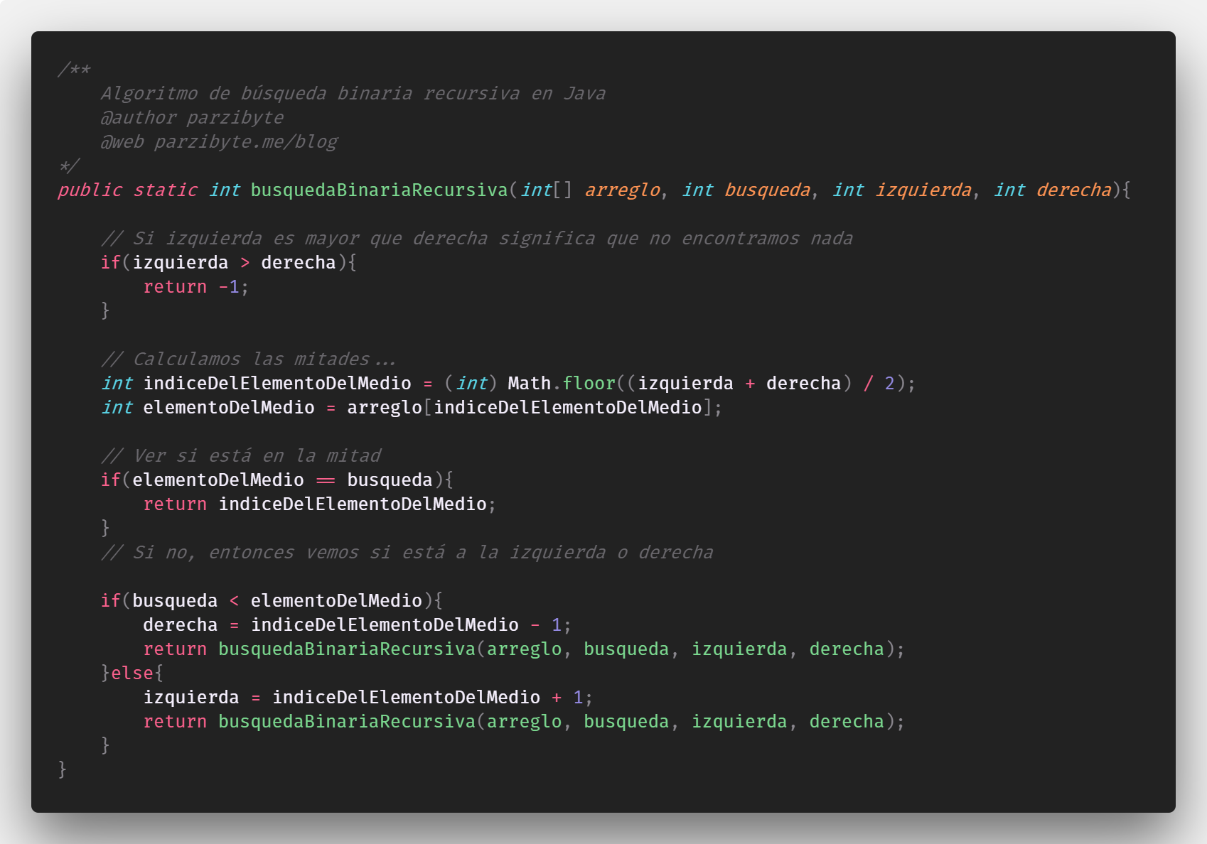 Búsqueda binaria en Java