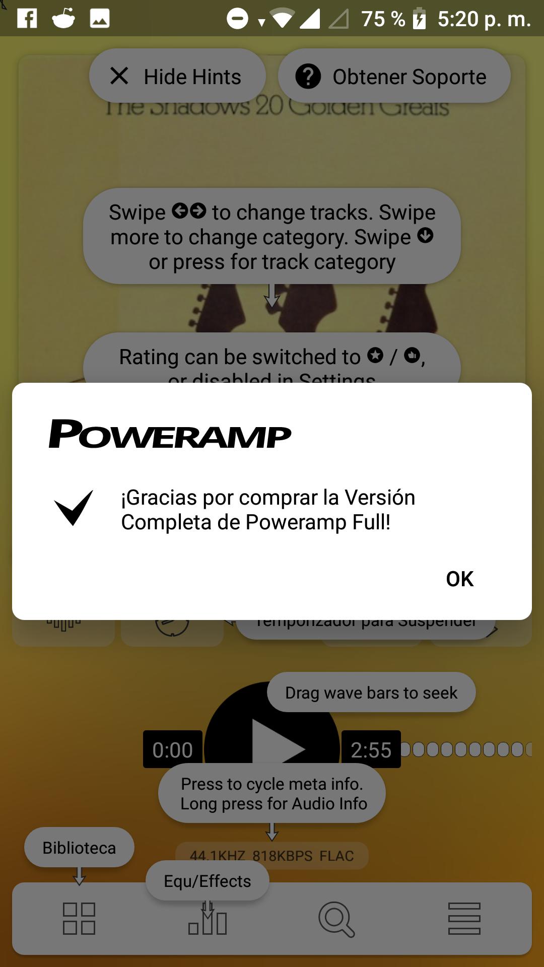 Solución a notificación rara de Poweramp en Android Oreo (8