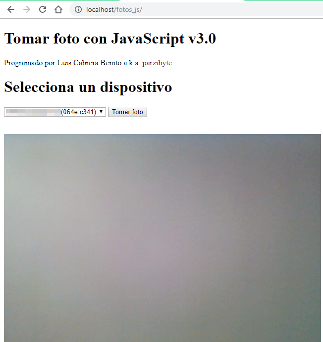 Tomar foto con JavaScript en Chrome