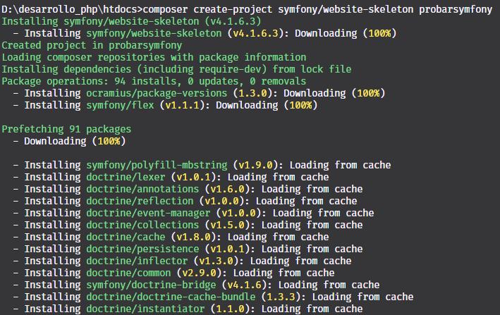 Crear proyecto con symfony 4