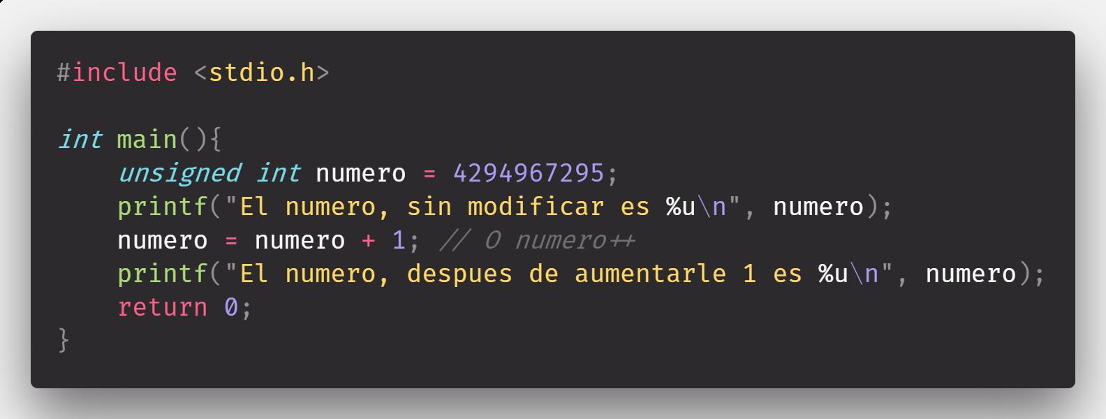 Desbordamiento de variables en C