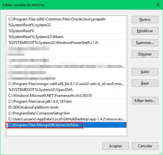 Directorio bin de MongoDB agregado a PATH de Windows