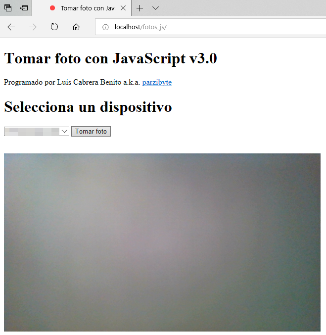 Tomar foto con JavaScript en Edge