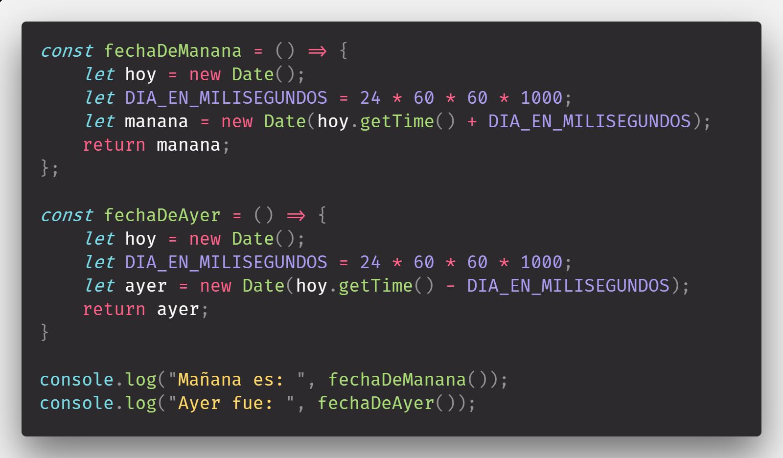 Fecha de ayer y fecha de mañana en JavaScript