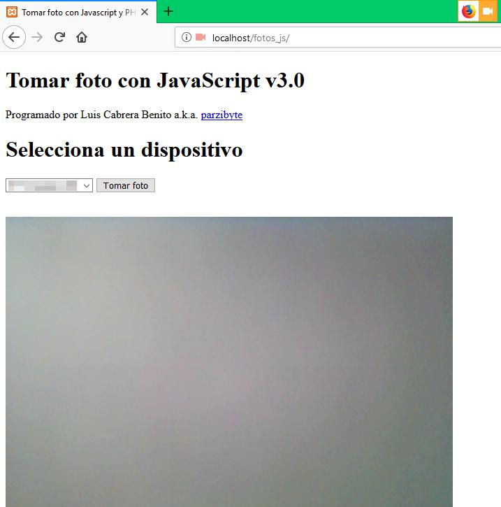 Tomar foto con JavaScript en Firefox