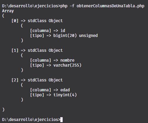 Obtener columnas de una tabla de una base de datos con MySQL, PHP y PDO