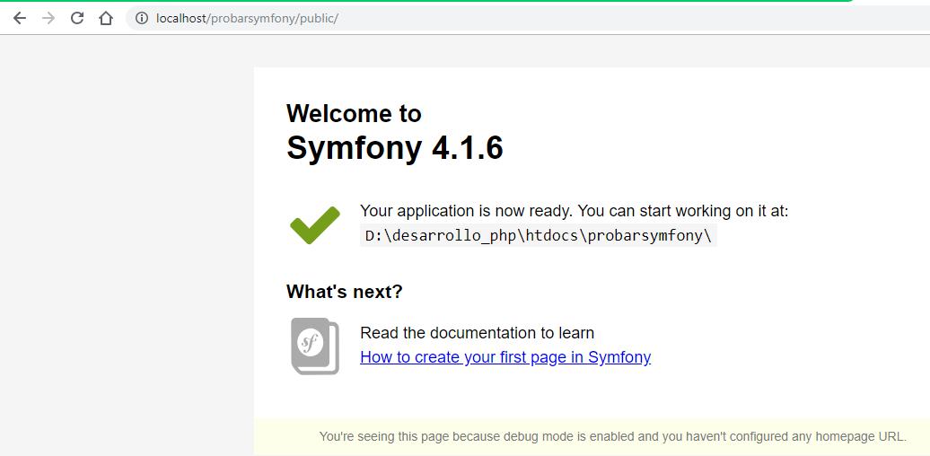Symfony con servidor web