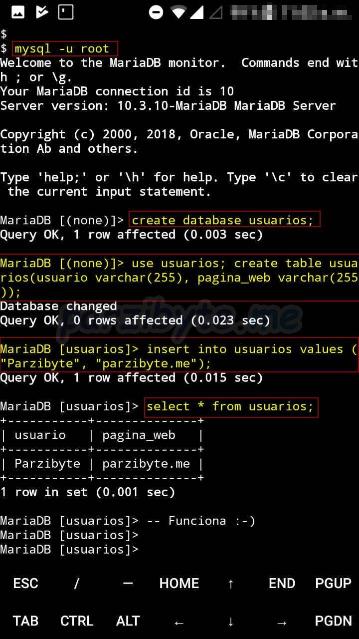 How to install MySQL (MariaDB) on Android with Termux - Parzibyte's blog