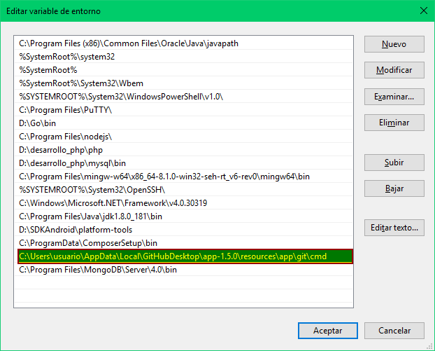 Agregar git.exe a la variable PATH de Windows