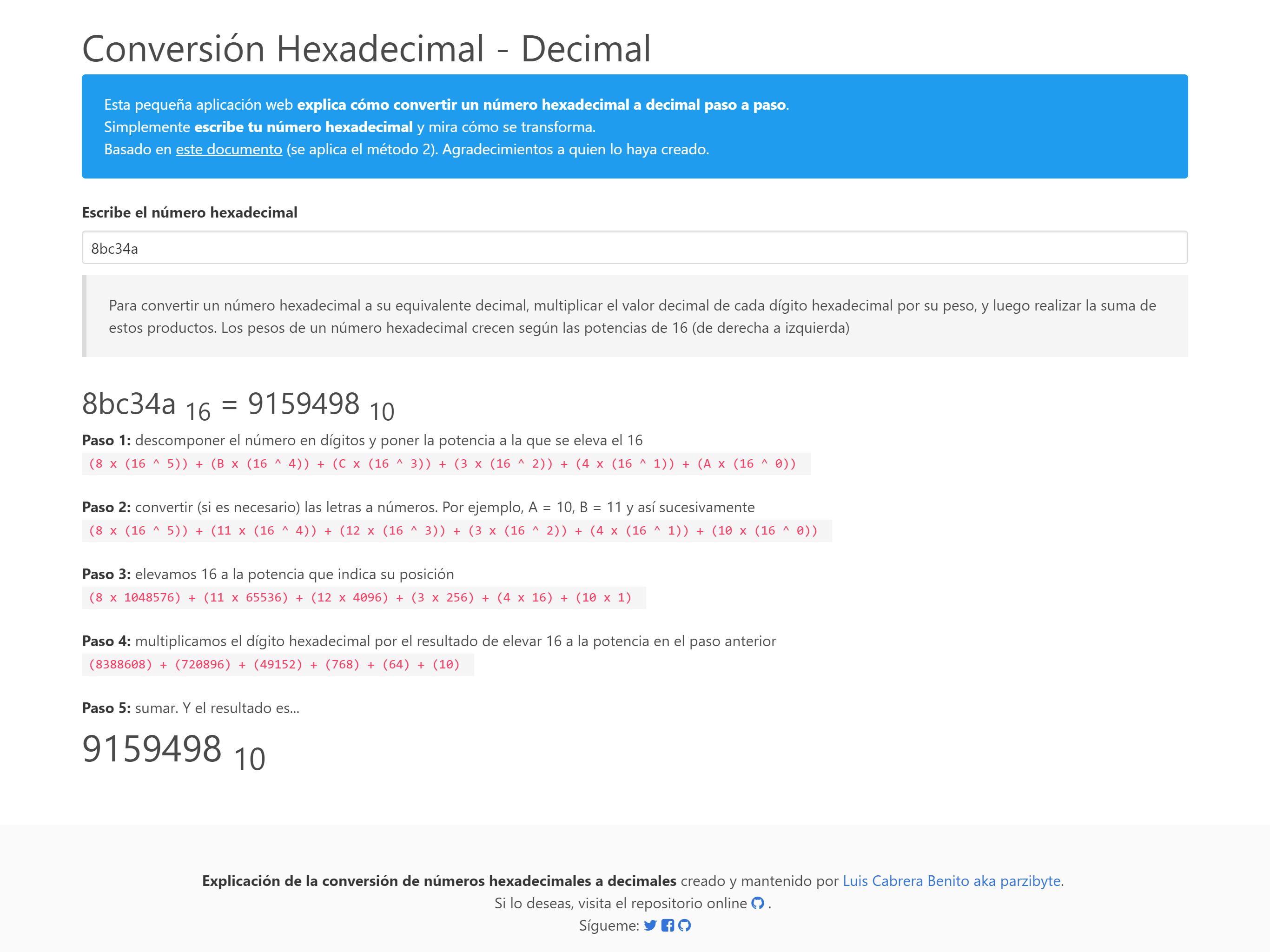 App que explica la conversión hexadecimal a decimal