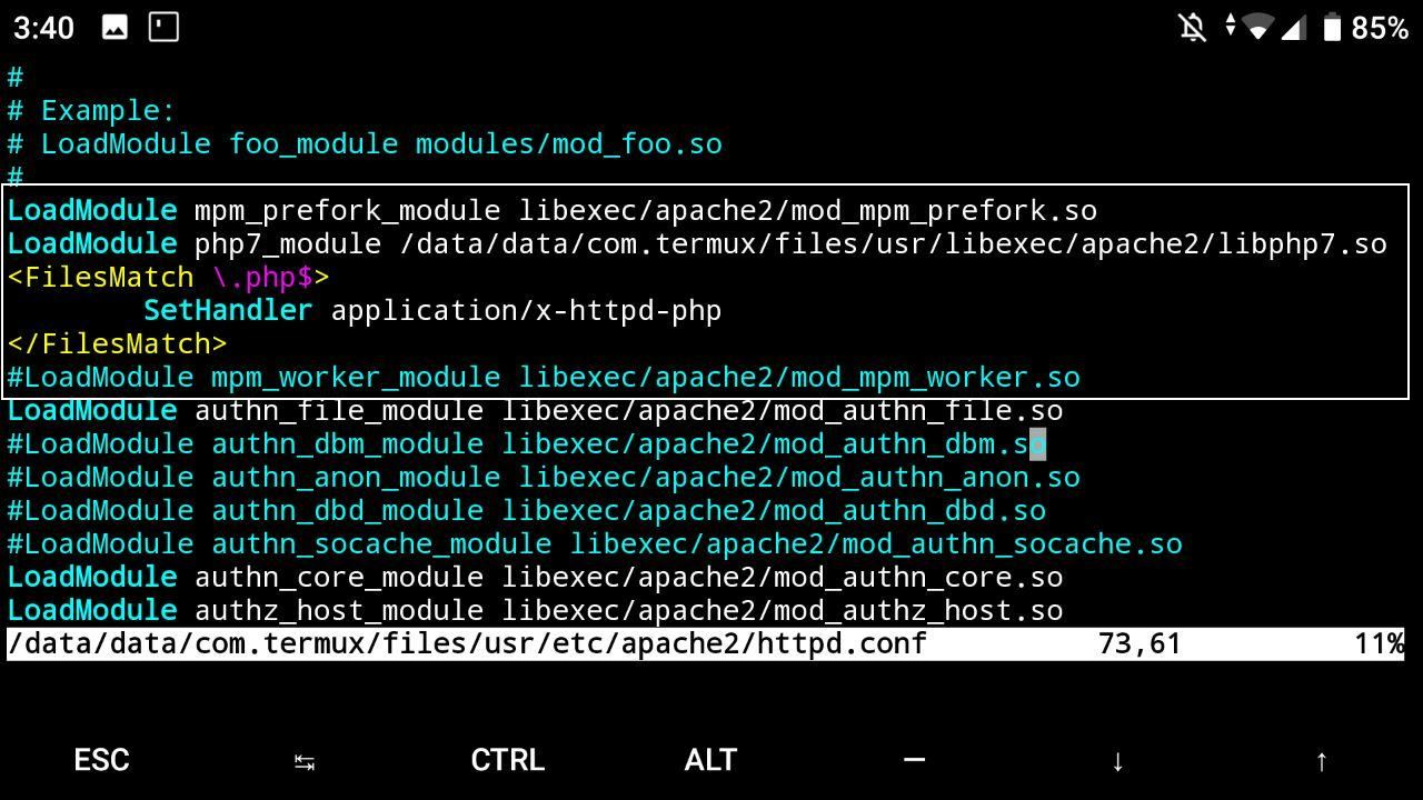 Configuración httpd en termux - Android